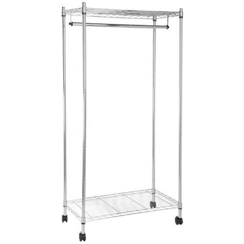 AmazonBasics Garment Rack with Top and Bottom Shelves - Chrome $26.97