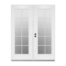 JELD-WEN 59.5-in x 79.5-in Simulated Divided Light Right-Hand Inswing Off-White Steel French Patio Door at Lowes $222 YMMV