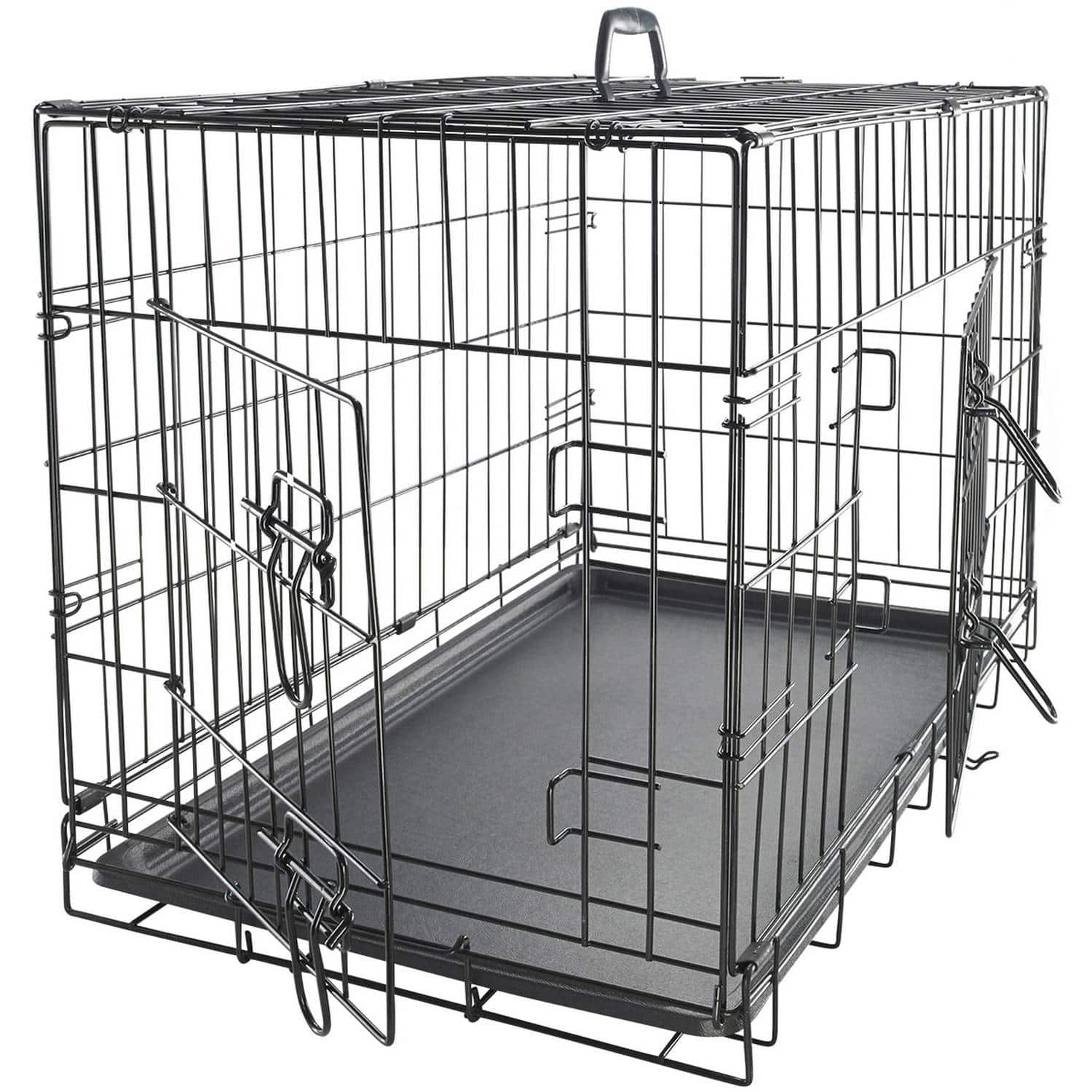 """WalMart has the OxGord 48"""" Heavy Duty Foldable Double Door Dog Crate for $60 with Divider and Removable ABS Plastic Tray, 48"""" x 29"""" x 32"""""""