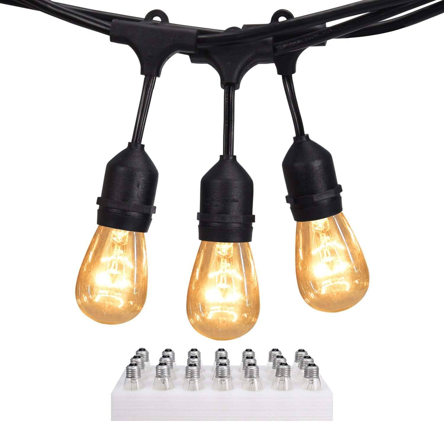 JACKYLED 48 Ft Outdoor String Lights with 21 Incandescent Bulbs for $38.87 @Amazon