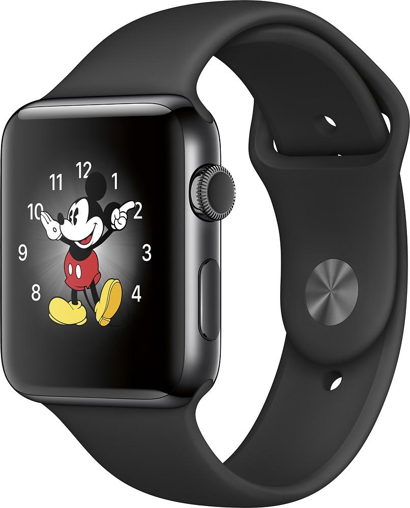 Apple - Apple Watch Series 2 42mm Space Black Stainless Steel Case - Space Black Stainless Steel $349