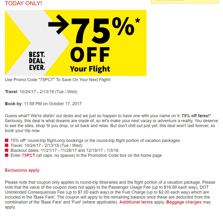 spirit airlines coupon deals