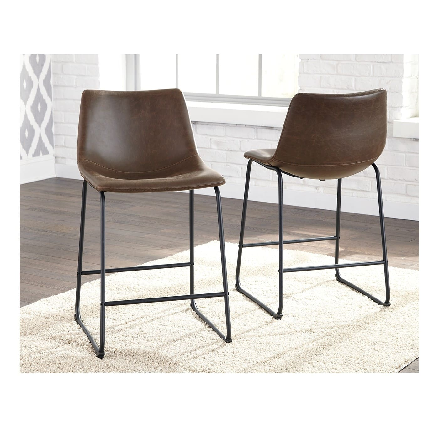 Set of 2 Barstools Brown/Black - Signature Design by Ashley for $76
