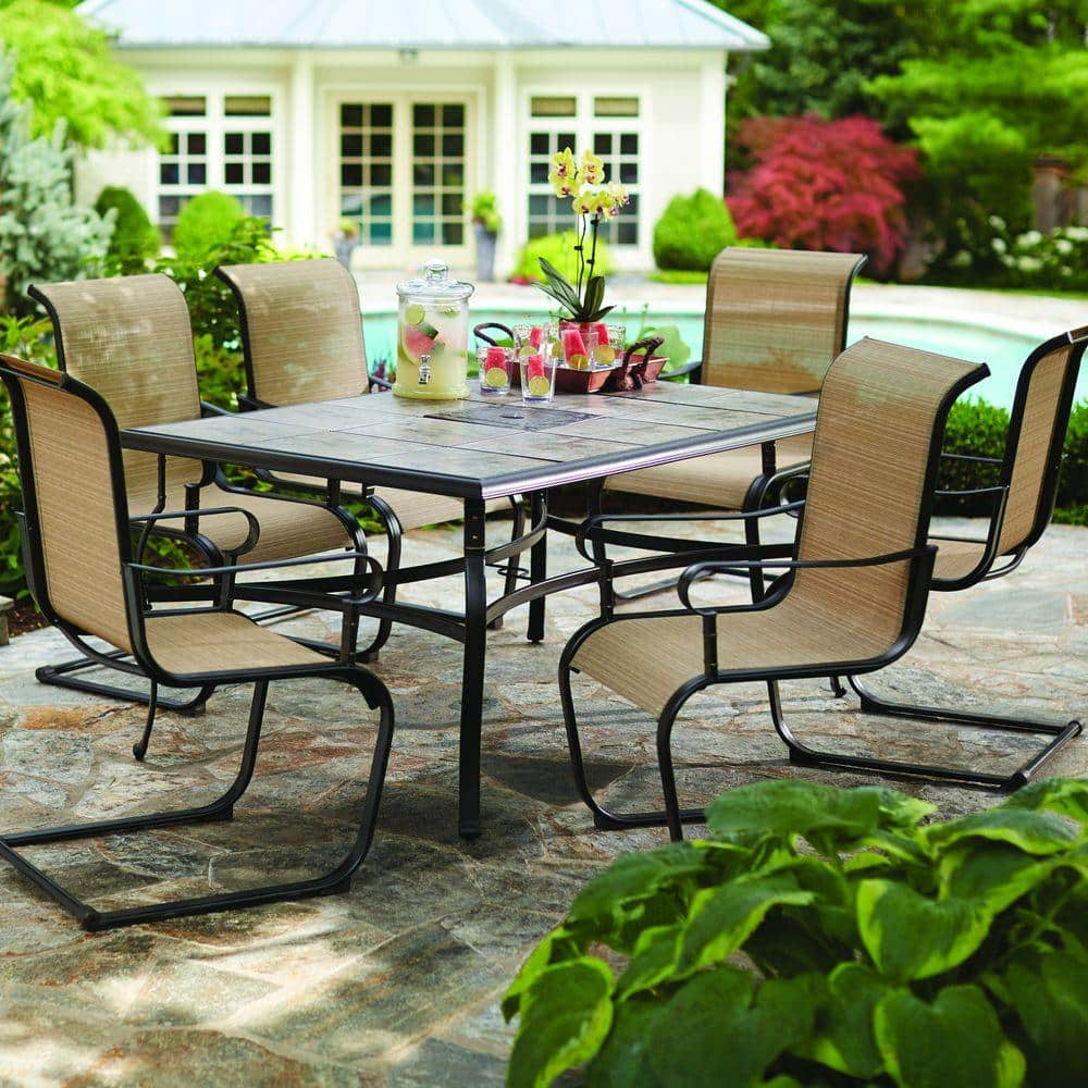Wonderful Hampton Bay Belleville 7piece Patio Dining Set For 249 At Home Depot.