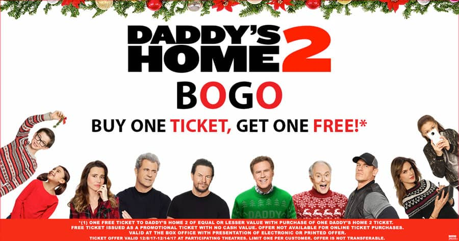 Daddy's Home 2 BOGO Cobb's Theaters