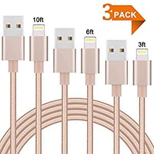 3FT 6FT 10FT Nylon Braided  iPhone Charger Cord  for $7.99 @amazon