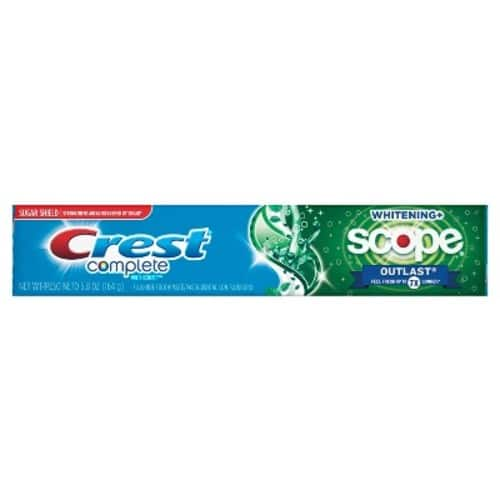 $0.97 Crest Complete Multi-Benefit Whitening with Scope Outlast Long Lasting Mint Flavor Toothpaste, 5.8 oz.