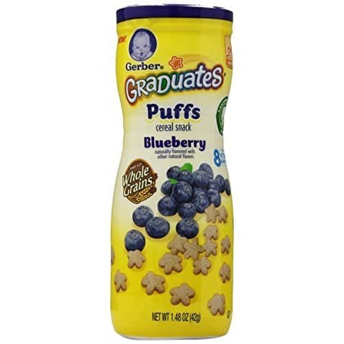 $8.81 Gerber Graduates Puffs Cereal Snack, Blueberry, Naturally Flavored with Other Natural Flavors, 1.48 Ounce, 6 Count