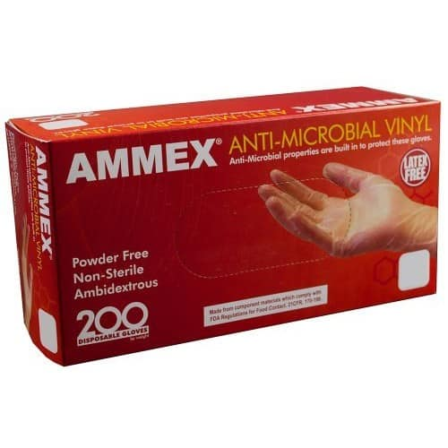 $5.68 AMMEX - AAMV42100-BX - Vinyl Gloves - Anti-Microbial, Powder Free, Food Safe, Industrial, 4 Mil, Small, Clear (Box of 200)