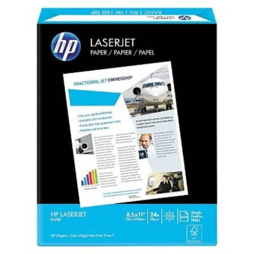 $5.92 HP Printer Paper, LaserJet, 24lb, 8.5 x 11, Letter, 98 Bright 500 Sheets / 1 Ream (115300R) Made in the USA