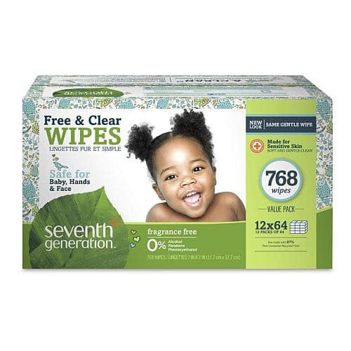 768 count  Seventh Generation Thick & Strong Baby Wipes, Free & Clear with Flip Top Dispenser for $17.51