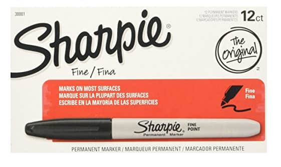 $5.00 (70% off) Sharpie Permanent Markers, Fine Point, Black, Box of 12