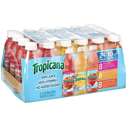 $10.7 Tropicana 100% Juice 3-Flavor Fruit Blend Variety Pack, 10 Ounce (Pack of 24)