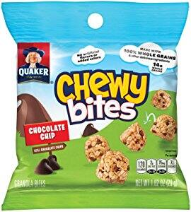 $8.34  Quaker Chewy Bites, Chocolate Chip, Granola Snacks, 1 oz, 16 Bags