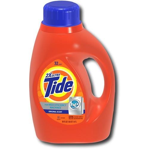 Prime Members :$9 Tide Original Scent HE Turbo Clean Liquid Laundry Detergent, 50 Fl Oz (32 Loads), 2 Count