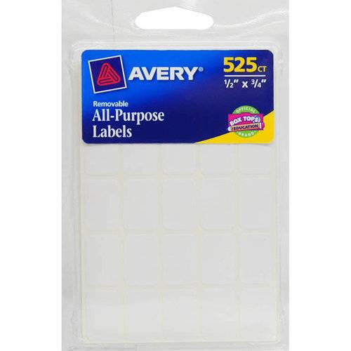 $1.68 ($4.99, 80% off) Avery Removable Labels, Rectangular, 0.5 x 0.75 Inches, White, Pack of 525 (6737)