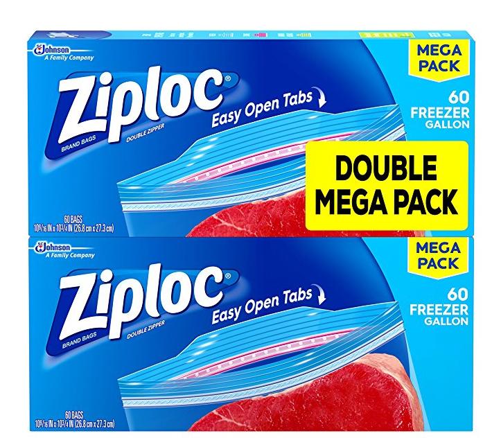 $8.69 Ziploc Freezer Bags, Gallon, 120 Count