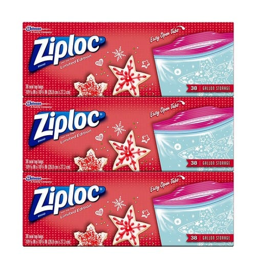 $6.88 add- on item Ziploc Limited Edition Holiday Storage Bags, Gallon, 114 Count