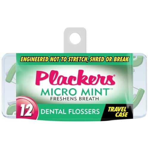 $0.97 Plackers Micro Flosser with Travel Case, Mint, 12 Count