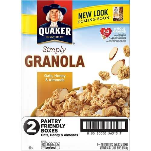 2-Pack 28oz Quaker Simply Granola Oats Cereal (Honey & Almonds) $6.55 w/ S&S + Free S&H