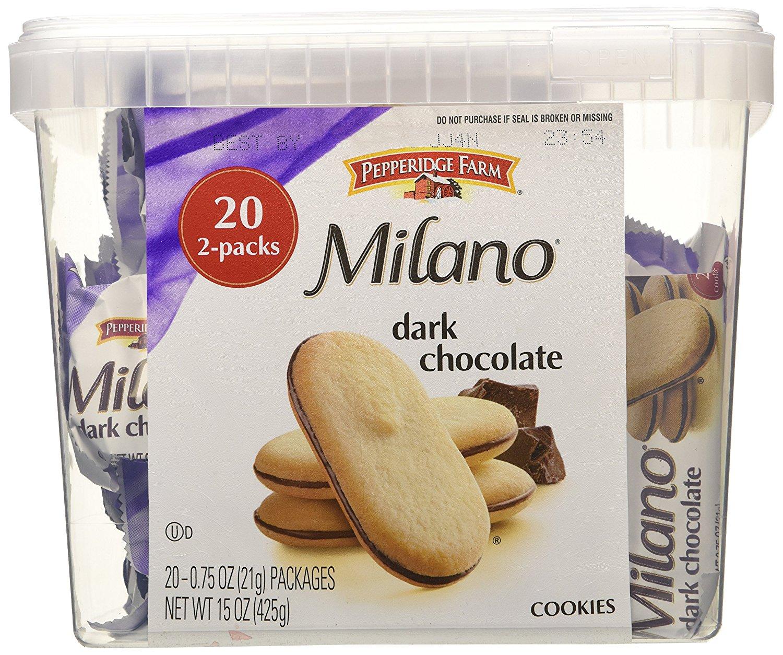 add - on item  2-Pack 20-Ct Pepperidge Farm: Milano Cookie Tub (Dark Choco) $6.79 w/ S&S + Free S/H