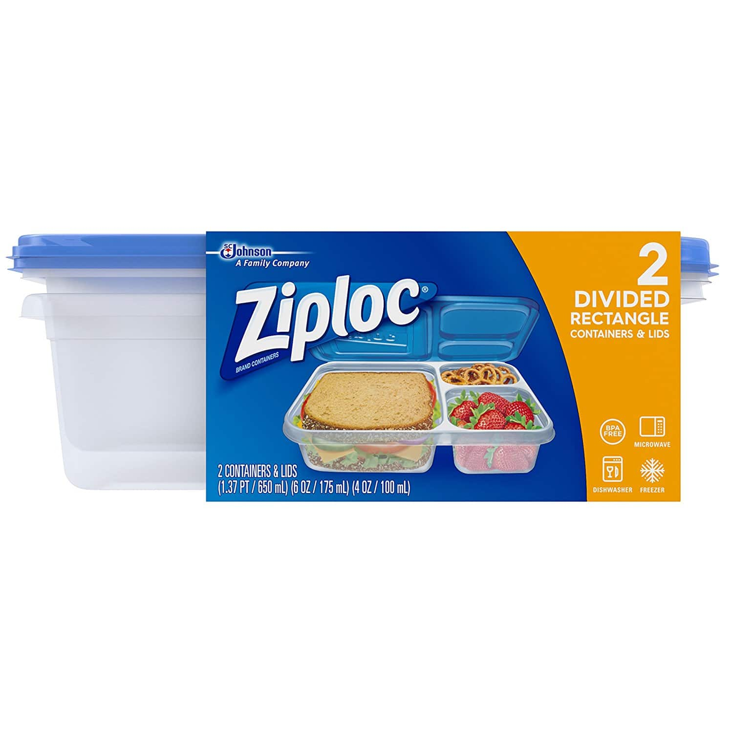 $1.98 for  Ziploc Container, Divided Rectangle, 2 Count
