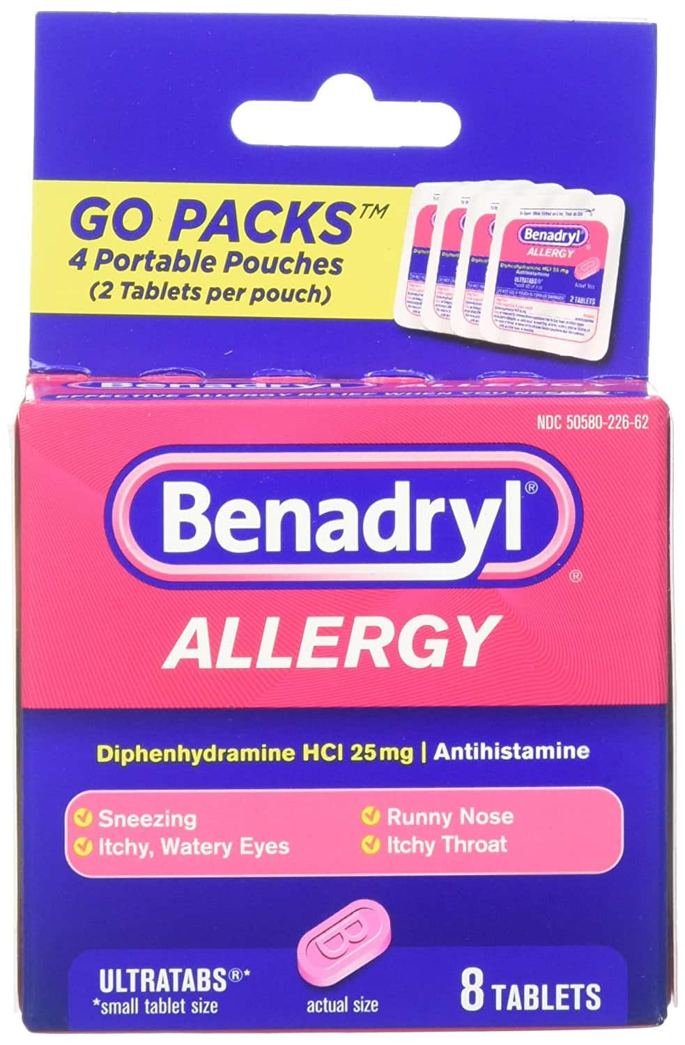 $2.00 with $2.00 credit Benadryl Allergy Ultratabs Tablets, Go Packs, 8 Count