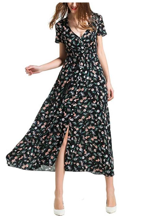 70% Off Sale on Amazon,Angelady Maxi Dress Women Floral Print Beach Dress