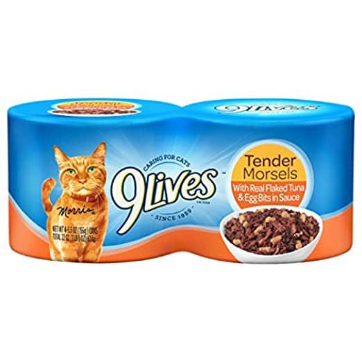 Add-on Item: 6 pack  5.5oz 9Lives Tender Morsels Canned Cat Food (Flaked Tuna & Egg) for $6.32