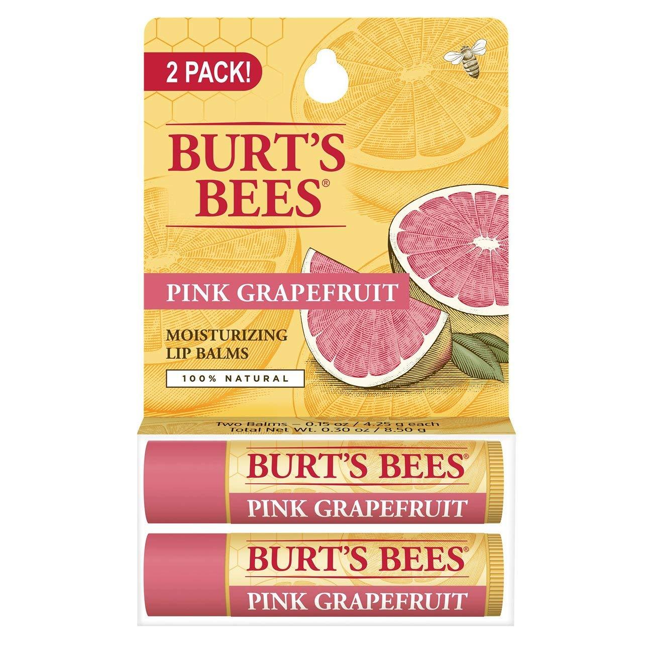 Add on item $2.99 Burt's Bees 100% Natural Moisturizing Lip Balm, Pink Grapefruit, 2 Tubes in Blister Box @ Amazon