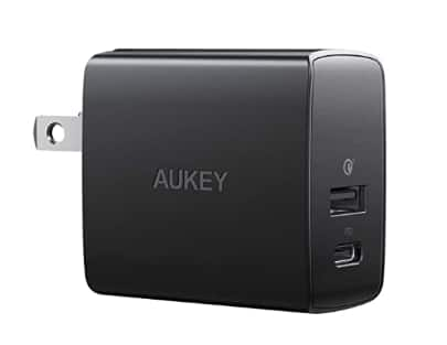 AUKEY USB C Charger 18W PD 3.0 + 18W QC3.0 Fast Charger, USB C and A Wall Charger Dual Port + Free Shipping