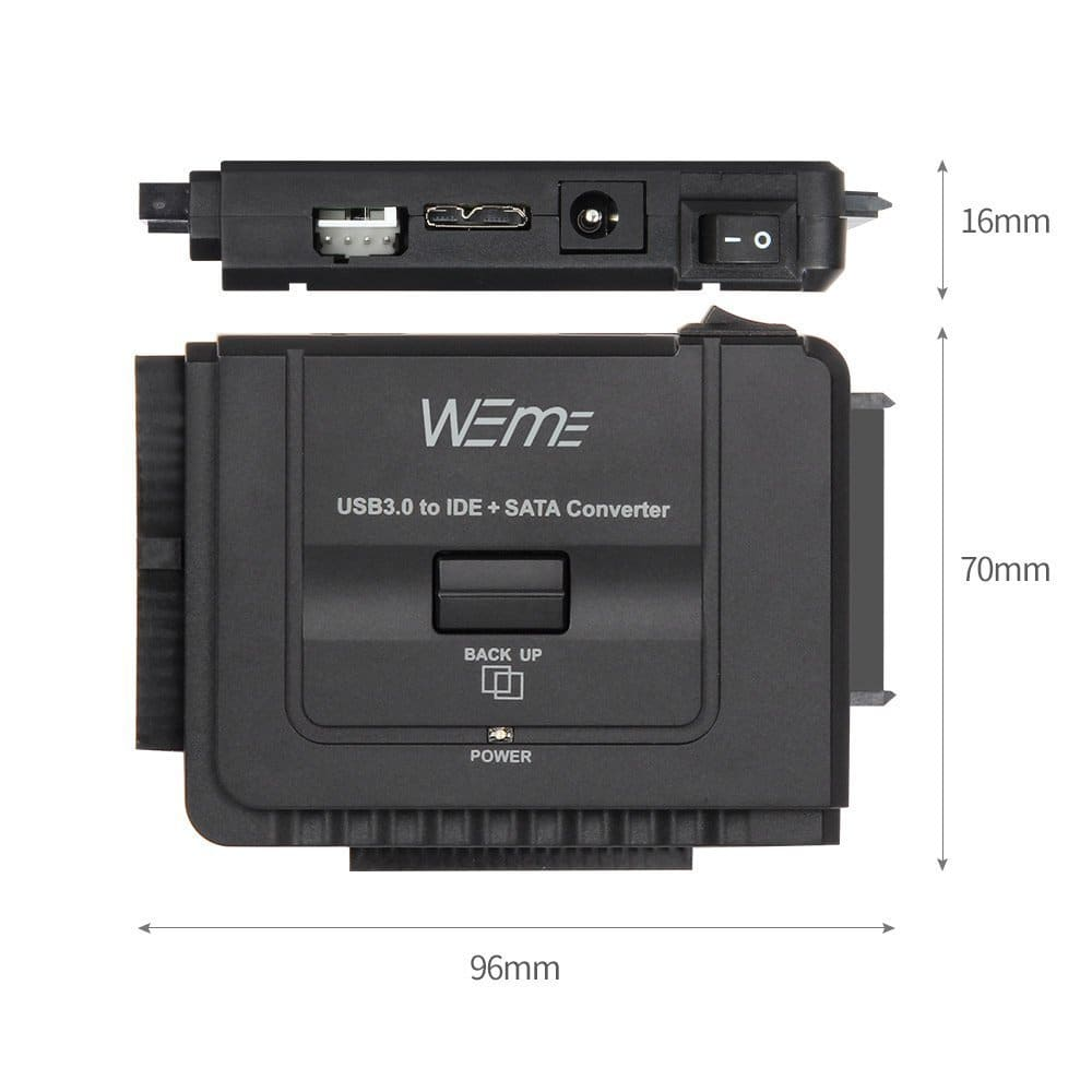 """WEme USB 3.0 to SATA/IDE Adapter with Universal 2.5""""/3.5"""" Hard Drive Disk Converter for HDD/SSD & IDE HDD, Support 6TB and One-Touch Backup, Amazon $14.99 AC"""