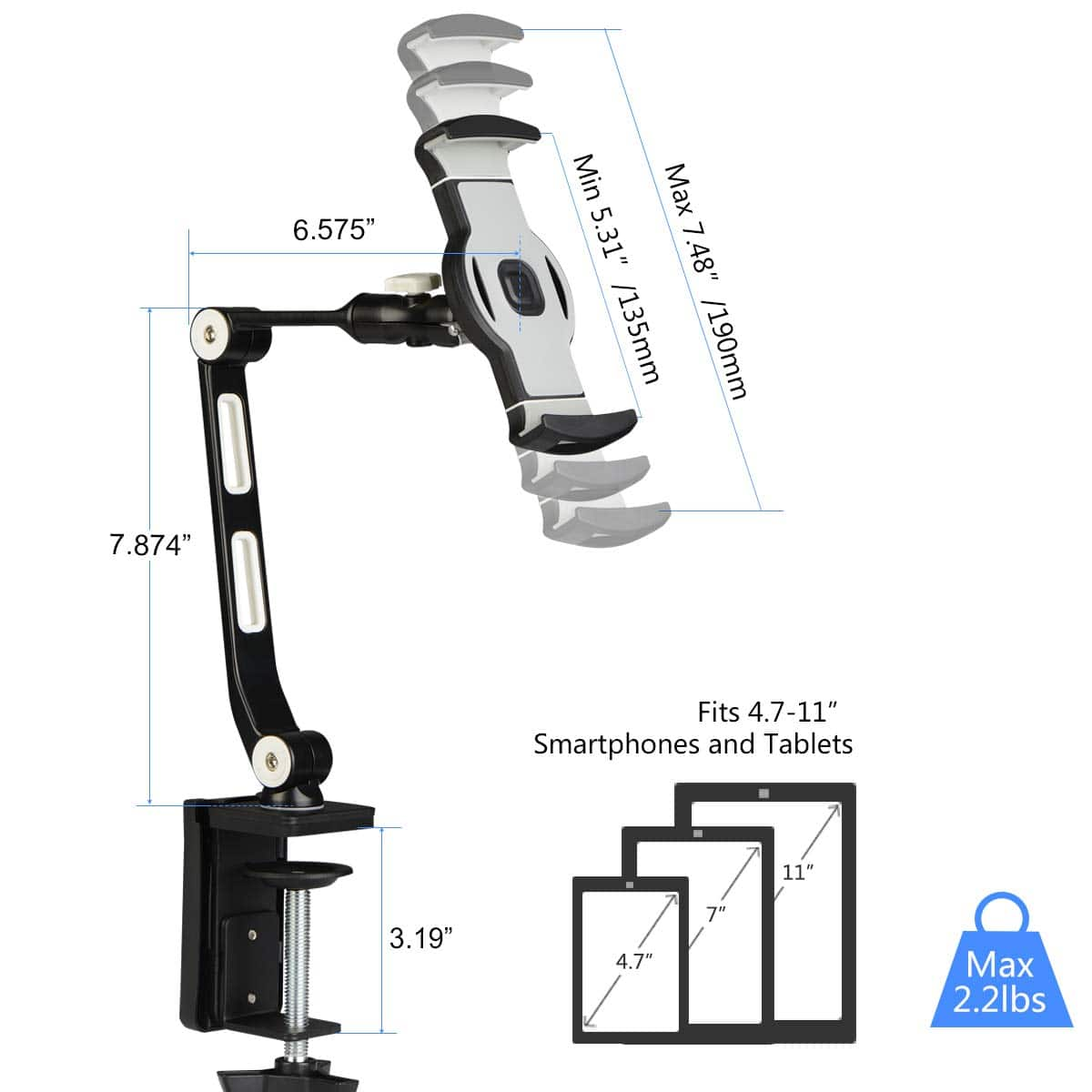suptek Aluminum Tablet Desk Mount Stand 360° Flexible Cell Phone Holder for iPad, iPhone, Samsung, Asus and More 4.7-11 inch Devices, @ Amazon $19.99 AC
