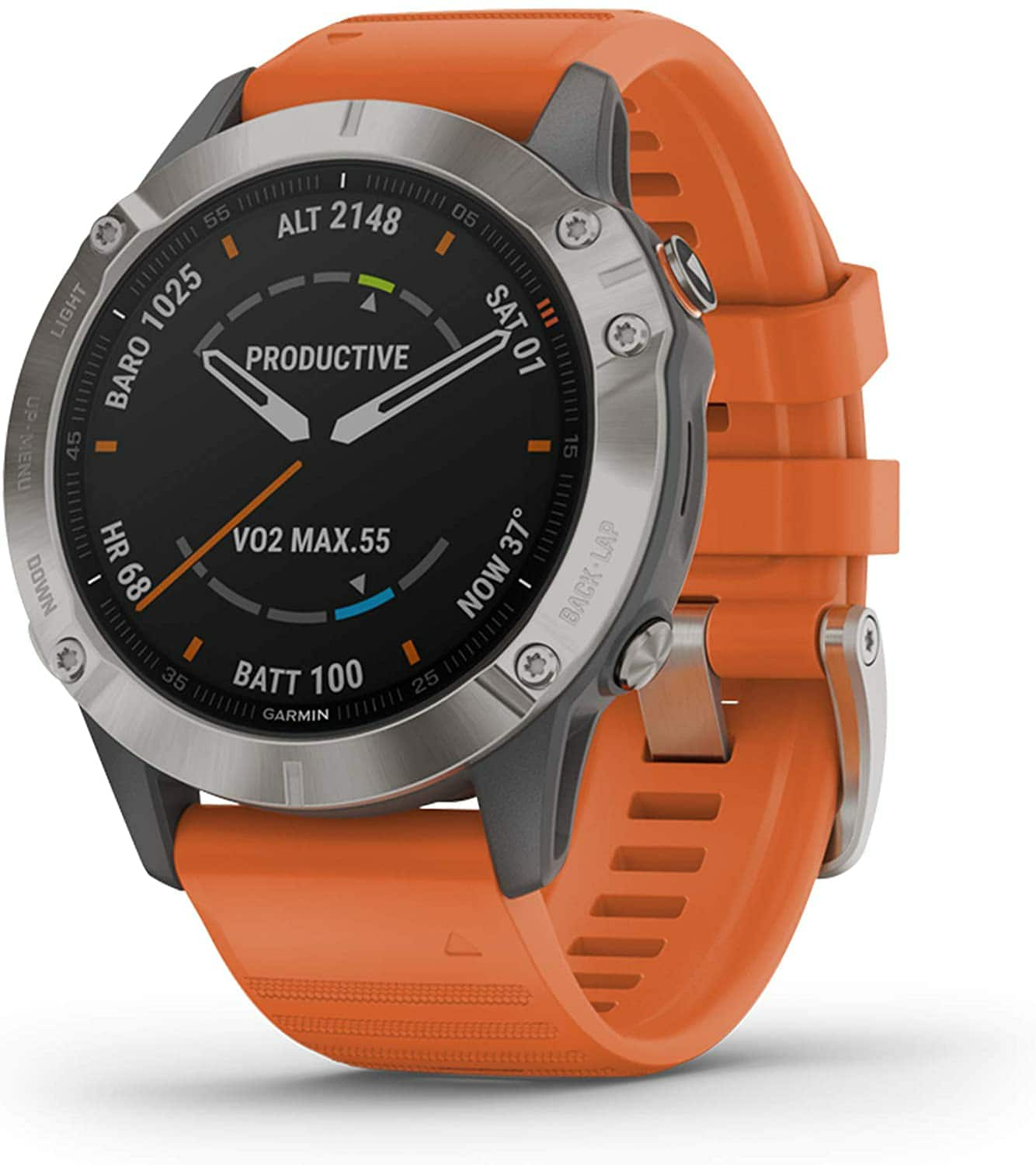 Amazon.com: Garmin Fenix 6 Sapphire, Premium Multisport GPS Watch, features Mapping, Music, Grade-Adjusted Pace Guidance and Pulse Ox Sensors, Titanium with Orange Band