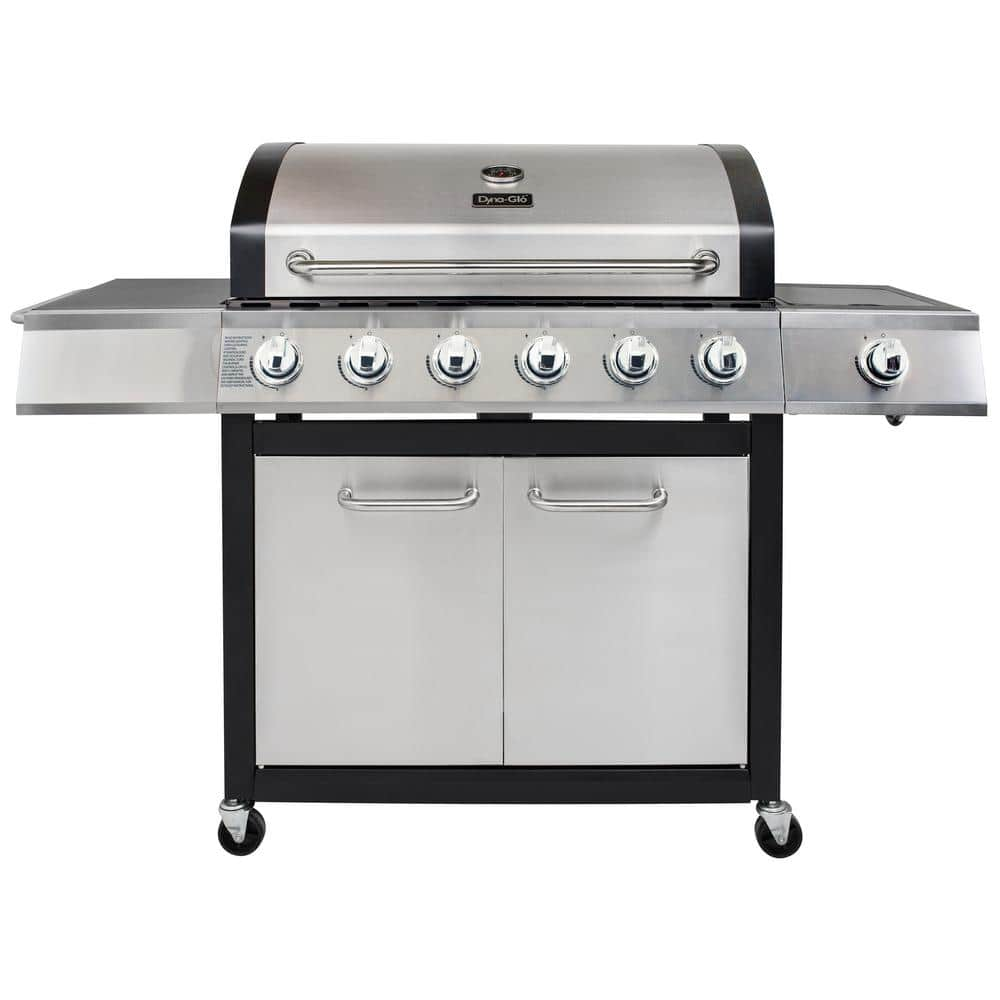 DYNA-GLO 6-Burner Open Cart Propane Gas Grill in Stainless Steel with Side Burner $199 + TAX, FREE STORE PICK UP HOME DEPOT