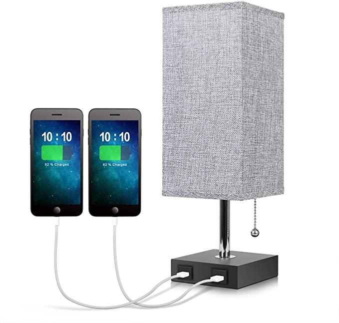 Seealle Grey USB Bedside Lamp with 2 USB Charging Port $16.89 + FS