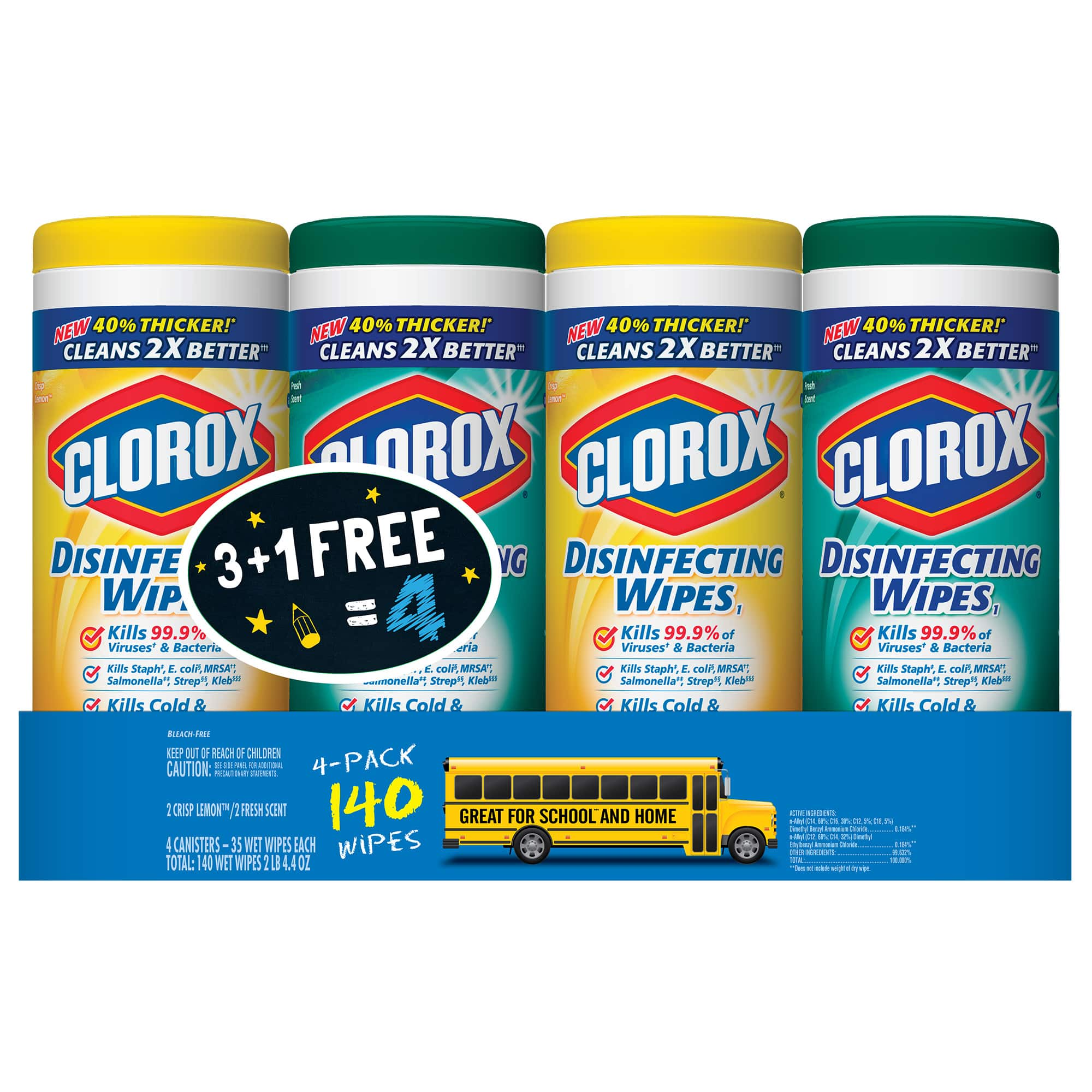 4 Pack Clorox Disinfecting Wipes, Crisp Lemon and Fresh Scent (35-Ct Each) $6.48 @Walmart