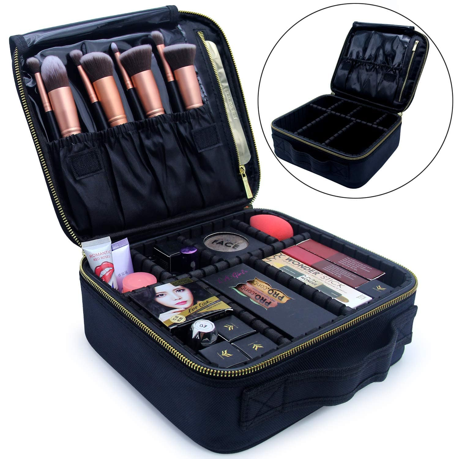 ff9bc32493b8 Relavel Portable Travel Makeup Train Case with Adjustable Dividers ...