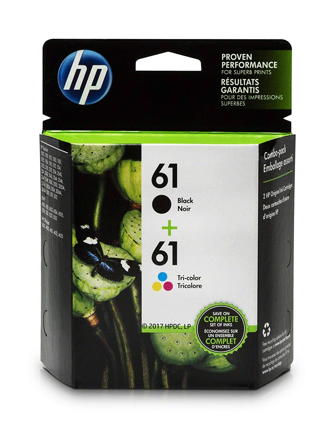 HP 61, 2 Ink Cartridges, Black, Tri-color for $39.99 @Woot