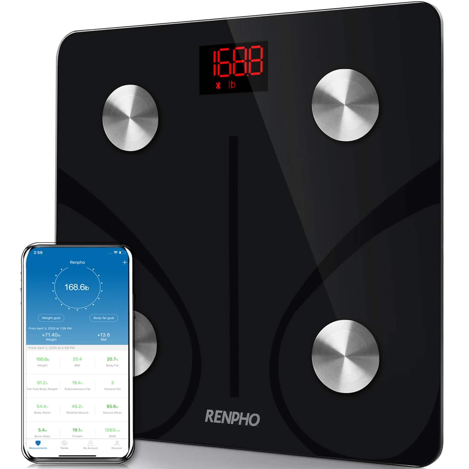 RENPHO Bluetooth Body Fat Scale, Body Composition Analyzer with Smartphone App $19.99 + free S/H