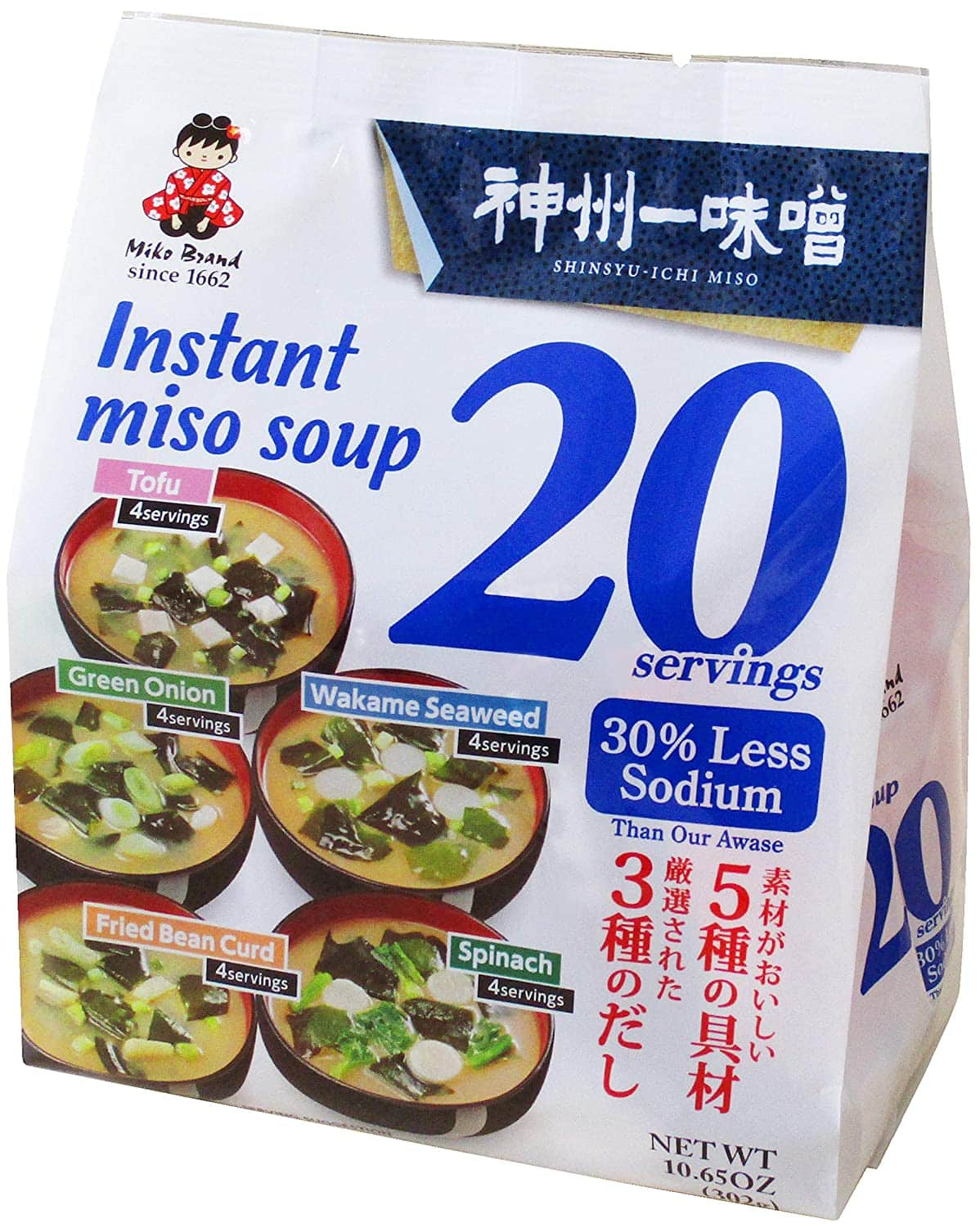 20-Serving 10.65oz Miyasaka Instant Miso Soup Variety Pack $6.86