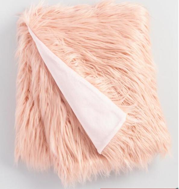 Blush Mongolian Faux Fur Throw (Free shipping) $19.99