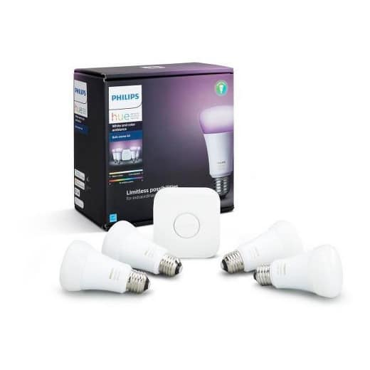 Philips Hue A19 Starter Kit- 3rd Generation White and Color - 4 Bulb Pack $136