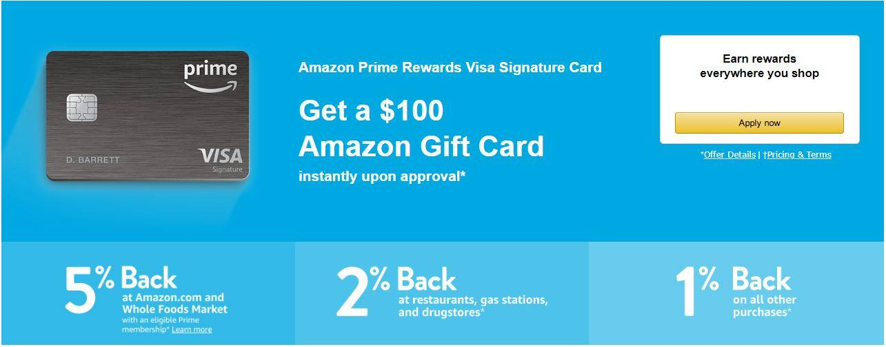 Amazon Prime Rewards Visa Signature Card - $7 gift card, $7