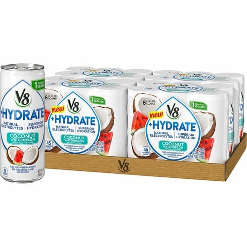 V8 +Hydrate Plant-Based Hydrating Beverage, Coconut Watermelon, 8 Fl Oz. Can, 6 Count (Pack of 4) $6.15