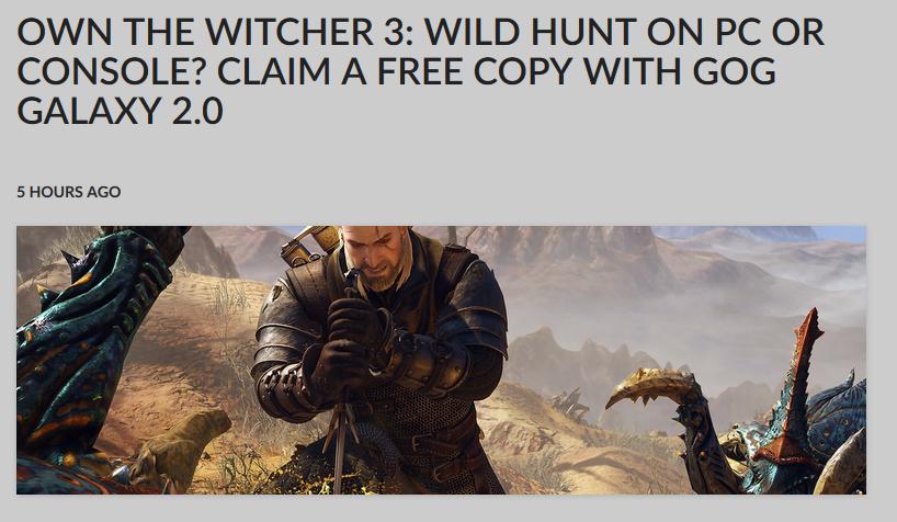 Witcher 3: Wild Hunt Free on GOG