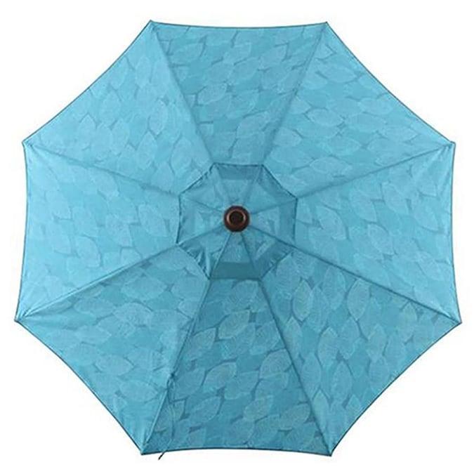 YMMV $24.50 Umbrella @ Lowes allen + roth Blue Leaf Market 9-ft Auto-tilt Round Patio Umbrella with Brown Woodgrain Aluminum Frame