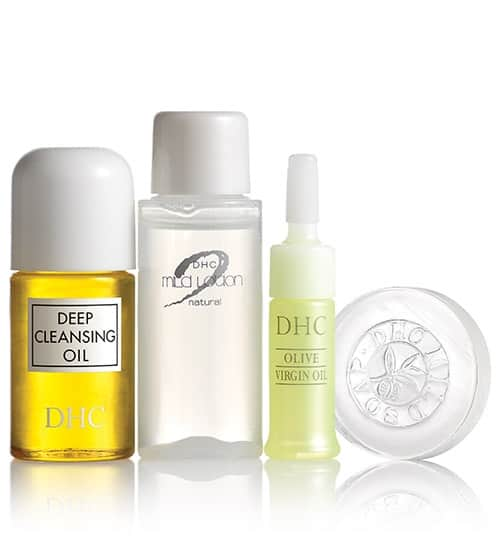 DHC Olive Essentials Travel Set + 4 Free Samples Free  $4.50 Shipping for New Customers with Coupon Code