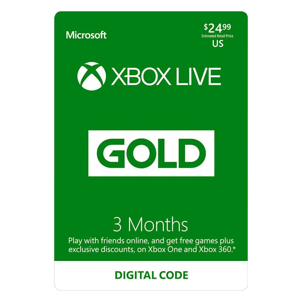 Xbox Live Gold 3 month subscription + 3 months free $24.99