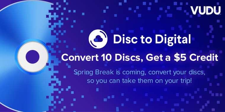 Vudu Disc to Digital Program: Convert 10 Discs to Digital